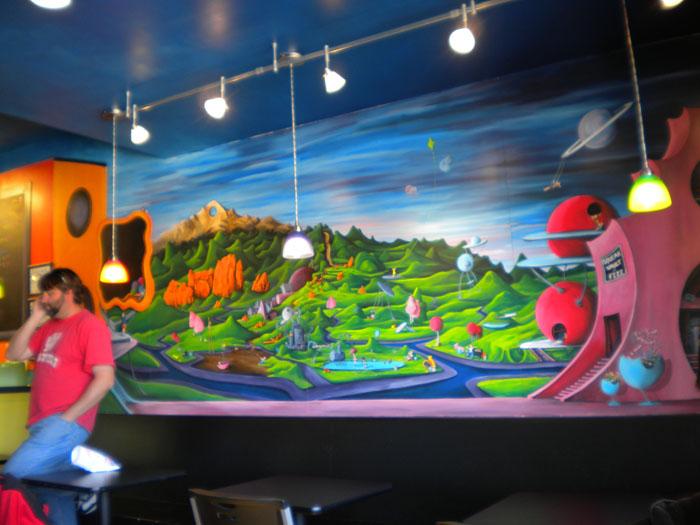 Colorful mural at Squeak Soda Shop, Colorado Springs