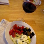 Home made Greek salad and No. Zero red wine