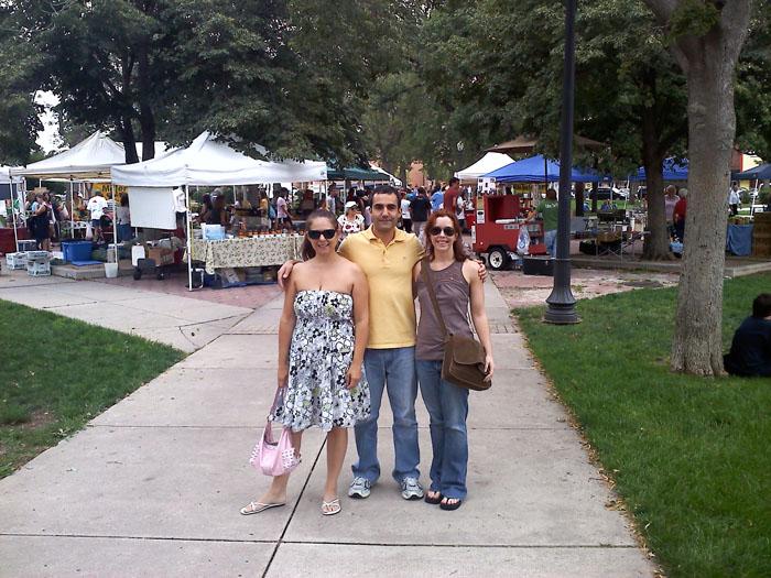 Me, david, and Sarah at the Acacia Park Farmer's Market, downtown Colorado Springs