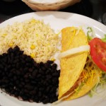 Tacos, rice, and beans from The Flow Of Mexico, downtown Colorado Springs