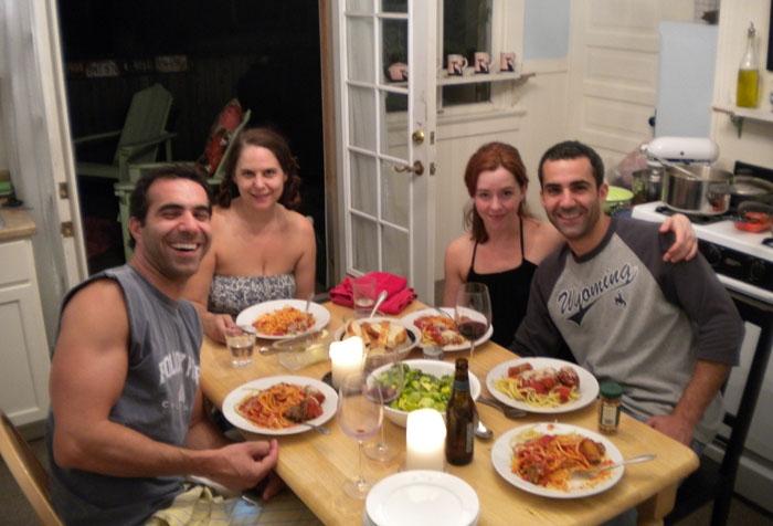 Chris, me, Sarah, and David in my kitchen having a nice Italian meal