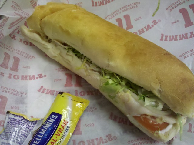 Jimmy John's turkey sub with dijon mustard and mayo.