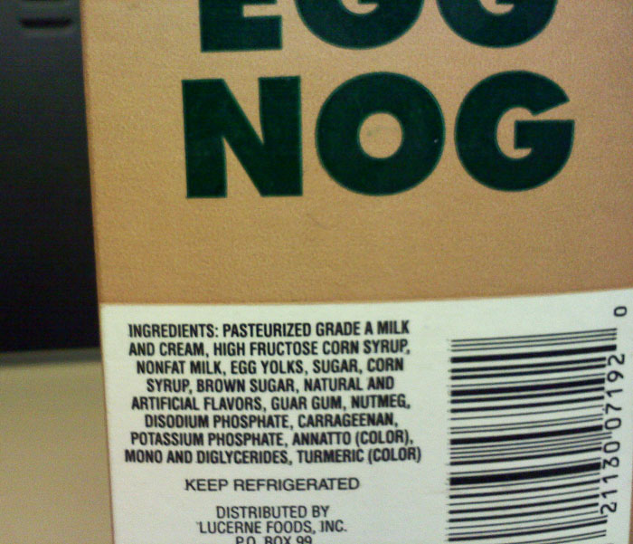 Ingredients of the Starbucks egg nog, which is used in its egg-nog latte.