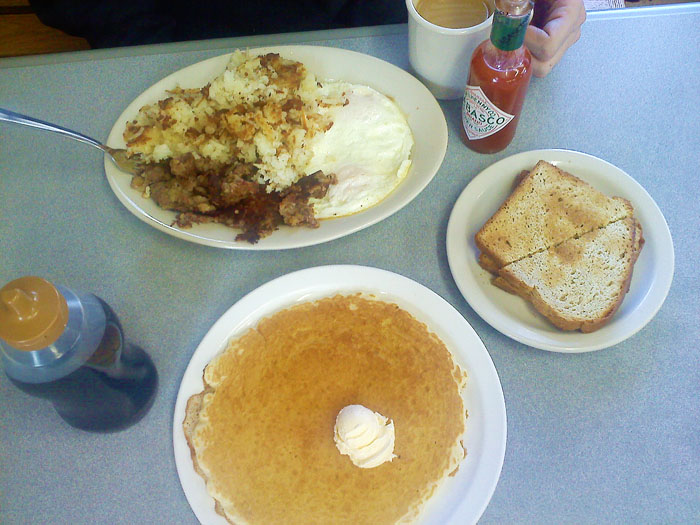 Breakfast at Sandy's restaurant, Colorado Springs