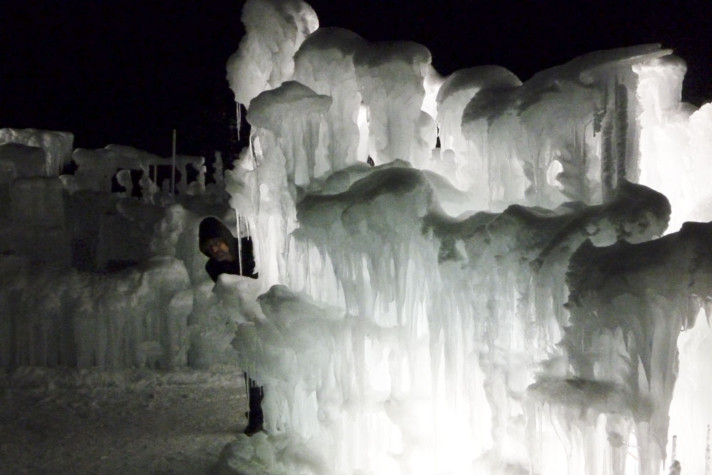 Ice Castles at Silverthorn, at night